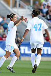 09 November 2008: North Carolina's Casey Nogueira (54) celebrates her goal with Jessica McDonald (47). The University of North Carolina Tarheels defeated the Virginia Tech University Hokies 3-0 at WakeMed Stadium at WakeMed Soccer Park in Cary, NC in the women's ACC tournament championship game.