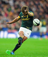 Pat Lambie of South Africa kicks for the posts. Killik Cup International match, between the Barbarians and South Africa on November 5, 2016 at Wembley Stadium in London, England. Photo by: Patrick Khachfe / JMP