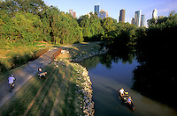 Stock photo of the Houston, Texas skyline from Buffalo Bayou Hike and Bike Trail.