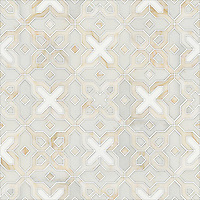 Huelva, a natural stone waterjet mosaic shown in Heavenly Cream honed, Cloud Nine, Thassos polished, is part of the Miraflores Collection by Paul Schatz for New Ravenna Mosaics.<br />