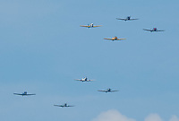 Formations of Grumman F4F Wildcats make their way toward the Washington Monument during the Arsenal of Democracy flyover.