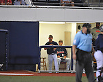 Ole Miss head coach Mike Bianco argues a call vs. LSU in Oxford, Miss. on Friday, May 4, 2012. LSU won 4-3 in 13 innings.