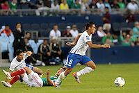 Wilmer Fuentes (8) Honduras comes away with the ball... Mexico defeated Honduras 2-1 after extra time to win the CONCACAF Olympic qualifying trophy at LIVESTRONG Sporting Park, Kansas City, Kansas.
