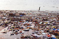 Garbage and Plastic accumulated at the banks of the Ganges River at the Babu Ghat, an enviromental problem. Ganges River Kolkata, India