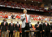 Ohio State Buckeyes head coach Urban Meyer speaks to a large crowd in St. John Arena for the first Skull Session before the Ohio State football season opener against Buffalo at Ohio Stadium in Columbus, Saturday afternoon, August 31, 2013. (Columbus Dispatch  / Eamon Queeney)