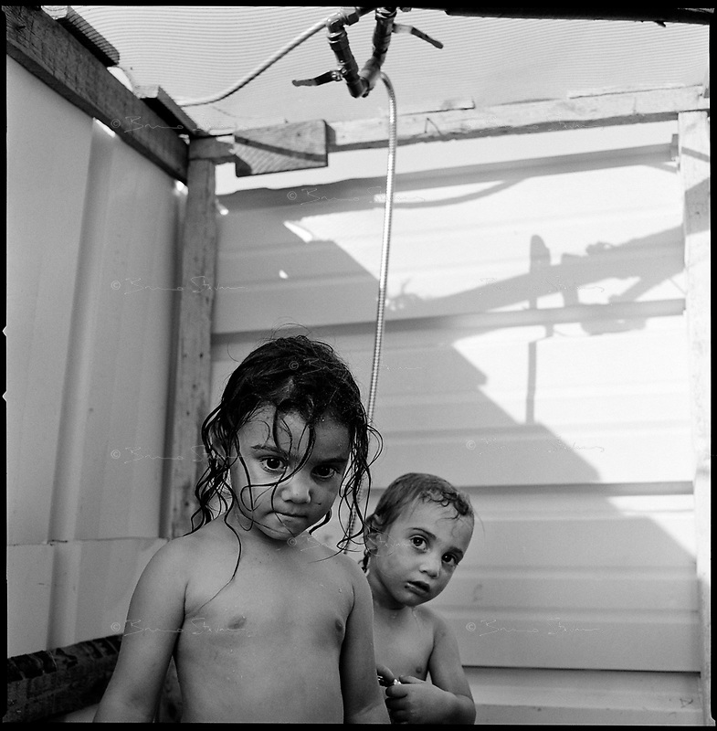 Shirat Ayam Settlement, Gaza strip Israel, Aug. 2005 .Children in the settlement. The water supply was cut 24 hours before the evacuation...