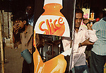Street scene outside a cold-drinks vendor