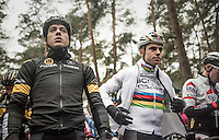 World Champion Wout Van Aert (BEL/Crelan-Willems) next to Tom Meeusen (BEL/Telenet-Fidea) on the start grid<br /> <br /> elite men's race<br /> Krawatencross Lille 2017