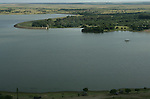Een stuwmeer in Vrijstaat Zuid-Afrika vanuit de lucht gezien.