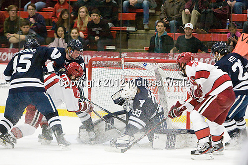 Clinton Bourbonais (Yale - 15), Daniel Moriarty (Harvard - 11), Tommy Fallen (Yale - 22), Jeff Malcolm (Yale - 33), Patrick McNally (Harvard - 8), Kevin Peel (Yale - 23) - The Harvard University Crimson defeated the visiting Yale University Bulldogs 8-2 in the third game of their ECAC Quarterfinal matchup on Sunday, March 11, 2012, at Bright Hockey Center in Cambridge, Massachusetts.