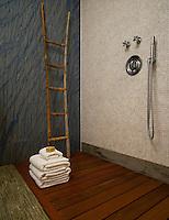 Tatami mosaic bath floor and base moldings in Chartreuse with Calacatta Tia marble mosaic walls and Blue Macauba slabs