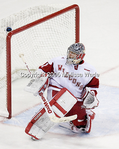 Wisconsin Badger Brian Elliott of Newmarket, Ontario was the only underclassman member of the Hobey Hat Trick last season.  The senior goaltender was drafted 291st overall by the Ottawa Senators in the 2003 NHL Entry Draft. The Boston College Eagles defeated the University of Wisconsin Badgers 3-0 on Friday, October 27, 2006, at the Kohl Center in Madison, Wisconsin in their first meeting since the 2006 Frozen Four Final which Wisconsin won 2-1 to take the national championship.<br />