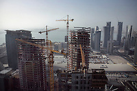 Construction work and skyscrapers in Doha.