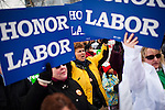 Deb Miles, center, protests outside the  Wisconsin State Capitol over a bill that threatens to strip collective bargaining rights in Madison, Wisconsin, February 26, 2011. Crowds swelled Saturday as protests enter their 12th day.