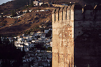 Torre de las Gallinas (Tower of the Hens) with the Albaraizin in the distance, 13th Century, The Alhambra, Granada, Andalusia, Spain; Among the still 22 towers fortifying the ramparts of the Alhambra. Picture by Manuel Cohen