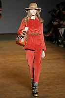 Iris Egbers walks runway in an outfit from the Marc by Marc Jacobs Fall/Winter 2011 collection, during New York Fashion Week, Fall 2011.