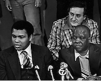 Heavy weight Champion Muhammad Ali with his trainer Dick Sadler at press conference.<br />(photo by Ron Riesterer)