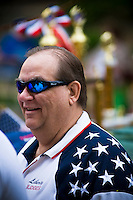 Judge at Loyalty day patriotic parade in small town USA.
