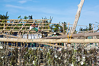 The damage caused by Typhoon Yolanda (Haiyan) is still clearly visible on Panagatan, Caluya. Six weeks after the typhoon passed by many houses are still without roof.