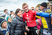 BELLS BEACH, Victoria/AUS (Monday, March 28, 2016) Mick Fanning (AUS) - Action at the Rip Curl Pro Bells Beach, the second stop on the World Surf League (WSL) Championship Tour (CT), continued today with the remaining six heats of Round Three before the contest was called off for the day.<br /> There were onshore South West winds throughout the day with a dropping swell in the 3'-5' range. <br /> The Heritage Round with Damien Hardman (AUS) and Barton Lynch (AUS) was held today with Lynch coming out victorious. <br /> <br /> Bells Beach has been hosting surfing tournaments for more than 50 years now, making it the most renowned spot on the raw and rugged southern coast of Victoria, Australia. The list of  Rip Curl Pro event champions is a veritable who's who of surfing icons, including many world champions.<br /> <br /> Surfing's greats have a way of dominating Bells. Mark Richards, Kelly Slater, and Mick Fanning all have four Bells trophies; Michael Peterson and Sunny Garcia, three; While Simon Anderson, Tom Curren, Joel Parkinson, Andy Irons, and Damien Hardman each grabbed a pair.<br /> <br /> The story is similar on the women's side. Lisa Andersen and Stephanie Gilmore have four Bells titles; Layne Beachley and Pauline Menczer, three; while Kim Mearig and Sally Fitzgibbons each have two.<br /> <br /> The 2016 event is about to kick off tomorrow and there was a packed warm up session at Bells this morning. <br /> Photo: joliphotos.com
