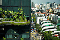 A view from the Parkroyal hotel which claims to have a total foliage cover that constitutes more than 200% of the structure&rsquo;s total land area, effectively using vertical greenery to replace the original greenery that was lost to build the hotel. The 12-storey-high tower features massive curvaceous, solar-powered sky-gardens which overlook the city park in the central business district of Singapore.<br />  Photo by Suzanne Lee/Panos Pictures