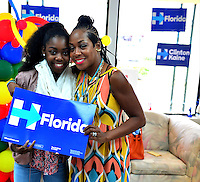 MIAMI GARDENS, FL - AUGUST 06: Tichina Arnold (R) and daughter Alijah Kai Haggins visit the Hillary for Florida Volunteers Phone Bank and Voter Registration Drive at the Florida Democratic Party Miami Gardens office on Saturday, August 6, 2016 in Miami Gardens, Florida. Credit: MPI10 / MediaPunch