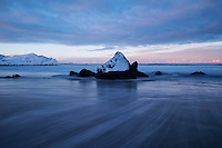 Tidal rocks at Skagsanden beach, Flakstadøy, Lofoten Islands, Norway