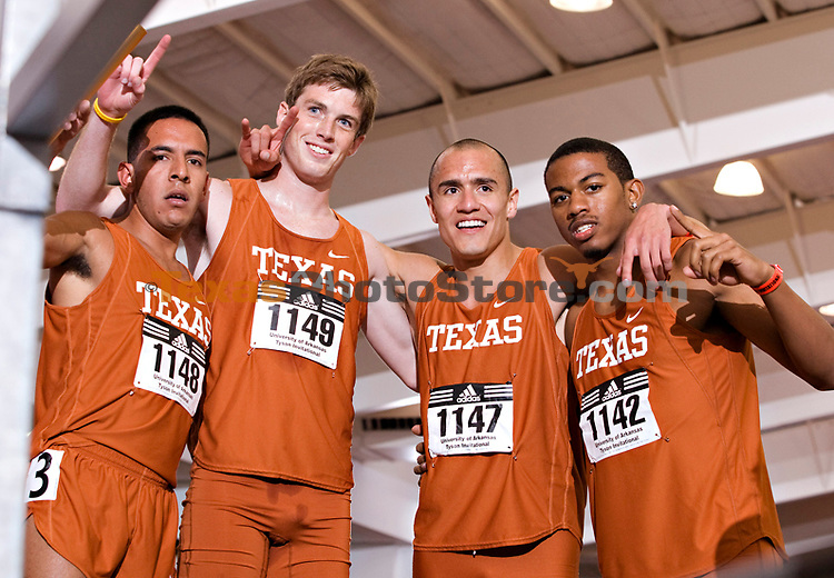 Texas Longhorns DNR team after setting the American Record with a time of 9:25:97 during the Tyson Invitational on February 16, 2008 at Randal Tyson Track Complex in Fayetteville, Arkansas. Team members left to right.Leonel Manzano, Kyle Miller, Jacob Hernandez and Danzell Fortson..The University of Texas has permission to use the photo however they need.