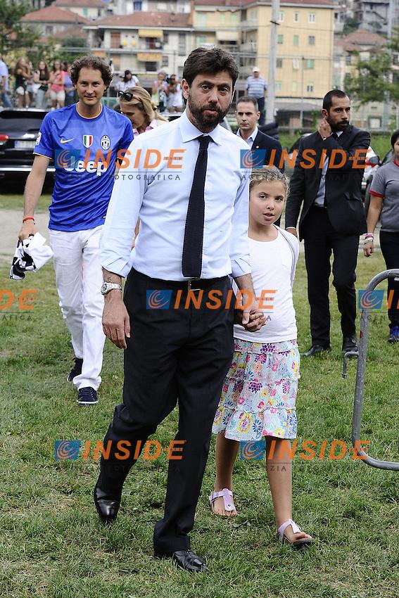 Andrea Agnelli with daughter <br /> Villar Perosa (Torino) 20-08-2014 <br /> Football Calcio Friendly Match Juventus A Vs Juventus B  foto Daniele Buffa/Image Sport/Insidefoto