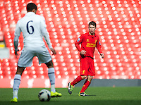 LIVERPOOL, ENGLAND - Easter Monday, April 1, 2013: Liverpool's Cameron Brannagan in action against Tottenham Hotspur during the Under 21 FA Premier League match at Anfield. (Pic by David Rawcliffe/Propaganda)