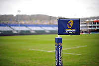 A general view of a European Rugby Champions Cup branded corner flag. European Rugby Champions Cup match, between Bath Rugby and RC Toulon on January 23, 2016 at the Recreation Ground in Bath, England. Photo by: Patrick Khachfe / Onside Images