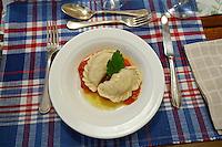Sissy & Stefanie Sonnleitner Landhaus, Restaurant, Genusswerkstatt. Krendlkurs (Karntnernudel cooking course) with Sissy Sonnleitner. Karntner Topfen-Hirsenudeln (Carinthian White Cheese and Millet Dumplings).