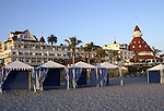 "Cabanas' on beach at Hotel del Coronado along Pacific Coast Coronado California,  Hotel del Coronado ""The Del,"" across San Diego Bay Coronado California, California Fine Art Photography by Ron Bennett,"
