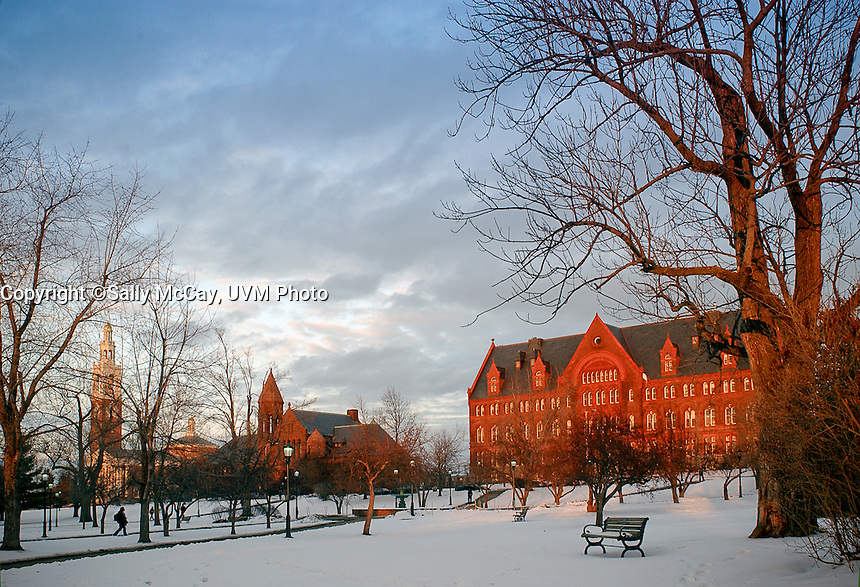 University Row, Ira Allen Chapel , Billings Library, Williams Hall, And the UVM Campus Green, Winter, UVM Winter Campus