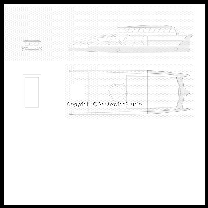 BNPS.co.uk (01202 558833)<br /> Pic: PastrovichStudio/BNPS<br /> <br /> ***Please Use Full Byline***<br /> <br /> The drawings of the Mother ship. <br /> <br /> The world's most luxurious superyacht which features its own detachable floating swimming pool and guest apartments has been unveiled - and it's guaranteed to make a splash among the world's super-wealthy.<br /> <br /> The mammoth 250ft vessel has been designed to act as a 'mother ship' for a series of luxury modules that can be turned into whatever its billionaire owner desires including a pool, a garden or accommodation.<br /> <br /> Once the boat is at anchor in its luxurious location the modules can be deployed and used as tiny floating boltholes.<br /> <br /> It also has its own inflatable walk-ashore pontoon so guests can walk straight from the boat onto the beach.<br /> <br /> And a cutting edge giro system would keep living quarters level at all time no matter how rough the seas are.<br /> <br /> Despite its enormous size, owners could sail the state-of-the-art carbon-fibre boat right in close to beaches because of its shallow hull design.<br /> <br /> The yacht, called the 77m X R-Evolution, is still a concept although its designers envisage it would costs hundreds of millions of pounds to buy. <br /> <br /> The plush creation is the brainchild of Monaco luxury yacht designers Pastrovich Studio.