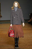 Ylonka Verheul walks runway in an outfit from the Marc by Marc Jacobs Fall/Winter 2011 collection, during New York Fashion Week, Fall 2011.