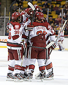 Harvard celebrates Danny Biega's (Harvard - 9) goal. - The Boston College Eagles defeated the Harvard University Crimson 4-1 in the opening round of the 2013 Beanpot tournament on Monday, February 4, 2013, at TD Garden in Boston, Massachusetts.