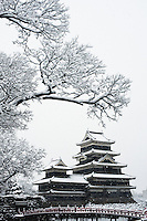 Matsumoto Castle under a winter snowfall, Matsumoto, Nagano, Japan.