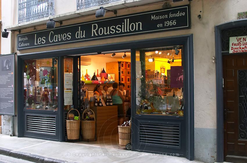 Wine shop Les Caves du Roussillon. Collioure. Roussillon. France. Europe.