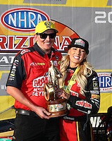 Feb 26, 2017; Chandler, AZ, USA; NHRA top fuel driver Leah Pritchett celebrates with crew after winning the Arizona Nationals at Wild Horse Pass Motorsports Park. Mandatory Credit: Mark J. Rebilas-USA TODAY Sports