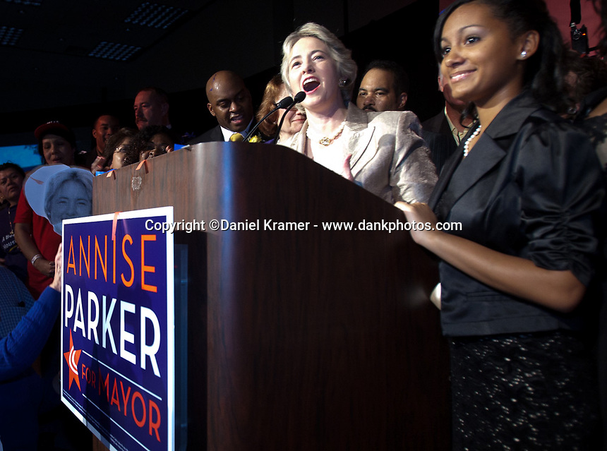 Annise Parker at her Houston Mayoral Election night victory party at the George R. Brown convention center on Decembet 12, 2009. Parker became the first openly gay mayor of a major American city and has been re-elected twice since then.
