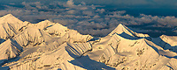 Aerial panorama of Scott peak in the Alaska Range mountains, Denali National Park, Interior, Alaska.