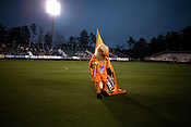 "March 14, 2009. Cary, NC.. The Carolina Railhawks went home in foul weather with a  1-0 victory over the New England Revolution of the MLS, in the inaugural ""Community Shield"" match and their first professional outing under new coach, Martin Rennie. . Swoops, the team mascot, warms up the crowd."