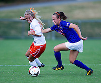 Brittany Ratcliffe (11) of Virginia fights for the ball with Emily Byorth (28) at Klockner Stadium in Charlottesville, VA.  Virginia defeated Clemson, 3-0.