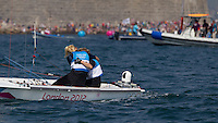 ENGLAND, Weymouth. 10th August 2012. Olympic Games. Women's 470 class. Medal Race. Hannah Mills (GBR) Skipper, Saskia Clark (GBR) Crew, after completing a poor medal race, but securing a Silver Medal.
