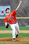 BURLINGTON CT. 24 April 2017-042417SV14-#17 Frank Tirino of Terryville High pitches against Lew Mills during the 2nd inning in Burlington Monday. <br /> Steven Valenti Republican-American