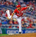 28 August 2010: Washington Nationals pitcher Joel Peralta on the mound in relief against the St. Louis Cardinals at Nationals Park in Washington, DC. The Nationals defeated the Cards 14-5 to take the third game of their 4-game series. Mandatory Credit: Ed Wolfstein Photo