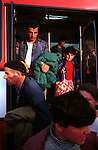 Ethnic Albanian refugees from Kosovo arriving on a bus into Cegrane, a refugee camp outside Skopje, Macedonia  on May 21, 1999.  Hundreds of thousands of people fled into Macedonia and Albania during the Serb terror of Kosovo..(Photo: Per-Anders Pettersson/ Getty Images)