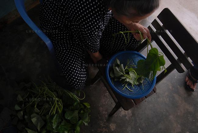 A woman prepares dinner in Hoi An, Vietnam.