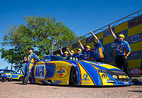 Apr 23, 2017; Baytown, TX, USA; NHRA funny car driver Ron Capps celebrates with his crew after winning the Springnationals at Royal Purple Raceway. Mandatory Credit: Mark J. Rebilas-USA TODAY Sports